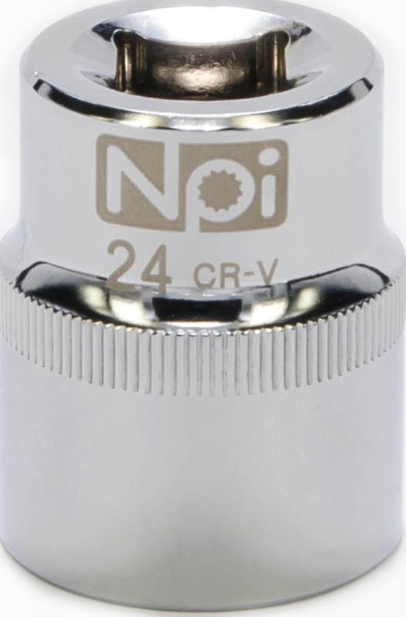 Головка торцевая NPI SuperLock, 1/2, 24 мм20024Торцевая головка NPI выполнена из высокопрочная хром-ванадиевой стали и применяется с гайковертами, трещетками, воротками. Торцевая головка выполнена по технологии Суперлок. Торцевая головка обеспечивает максимальный крутящий момент по отношению к резьбе и выдерживает ударные нагрузки. Размер ключа (метрический): 24 мм.Размер ключа (дюймы): 1/2 .Посадочный размер: 1/2.Длина головки: 38 мм.