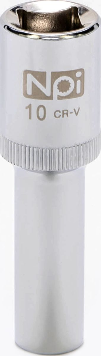 Головка торцевая NPI, удлиненная, 1/2, 10 мм20041Торцевая головка NPI выполнена из высокопрочной хром-ванадиевой стали и применяется с гайковертами, трещетками, воротками. Торцевая головка выполнена по технологии Суперлок. Торцевая головка обеспечивает максимальный крутящий момент по отношению к резьбе и выдерживает ударные нагрузки. Размер шестигранника: 10 мм. Высота головки: 77 мм. Размер ключа (дюймы): 1/2 .Посадочный размер: 1/2.Диаметр узкой части: 15 мм. Диаметр широкой части: 22 мм.