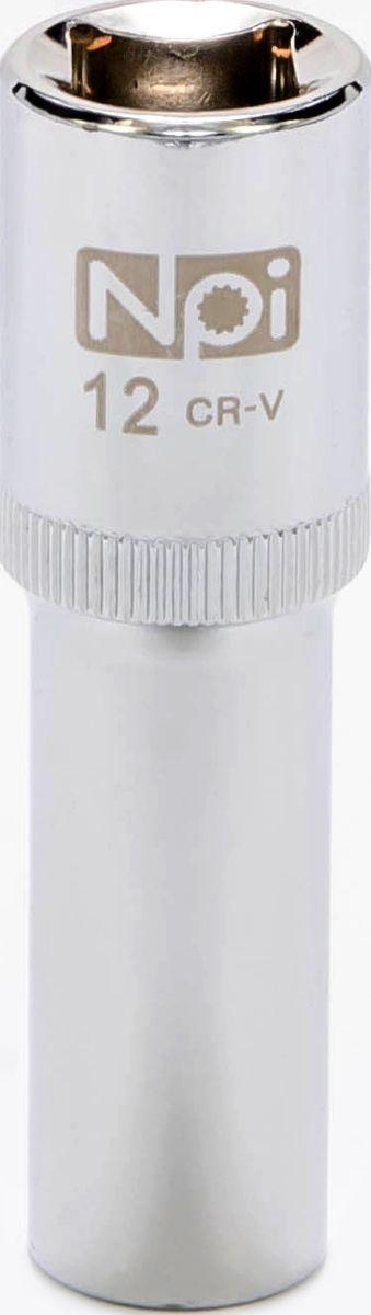 Головка торцевая NPI, удлиненная, 1/2, 12 мм20042Торцевая головка NPI выполнена из высокопрочной хром-ванадиевой стали и применяется с гайковертами, трещетками, воротками. Торцевая головка выполнена по технологии Суперлок. Торцевая головка обеспечивает максимальный крутящий момент по отношению к резьбе и выдерживает ударные нагрузки. Размер шестигранника: 12 мм. Высота головки: 77 мм. Размер ключа (дюймы): 1/2 .Посадочный размер: 1/2.Диаметр узкой части: 18 мм. Диаметр широкой части: 22 мм.