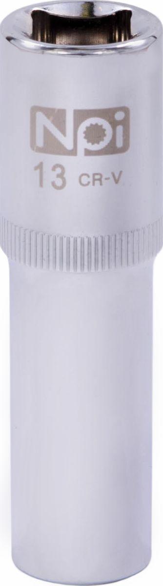 Головка торцевая NPI, удлиненная, 1/2, 13 мм20043Торцевая головка NPI выполнена из высокопрочной хром-ванадиевой стали и применяется с гайковертами, трещетками, воротками. Торцевая головка выполнена по технологии Суперлок. Торцевая головка обеспечивает максимальный крутящий момент по отношению к резьбе и выдерживает ударные нагрузки. Размер шестигранника: 13 мм. Высота головки: 77 мм. Размер ключа (дюймы): 1/2 .Посадочный размер: 1/2.Диаметр узкой части: 19 мм. Диаметр широкой части: 22 мм.