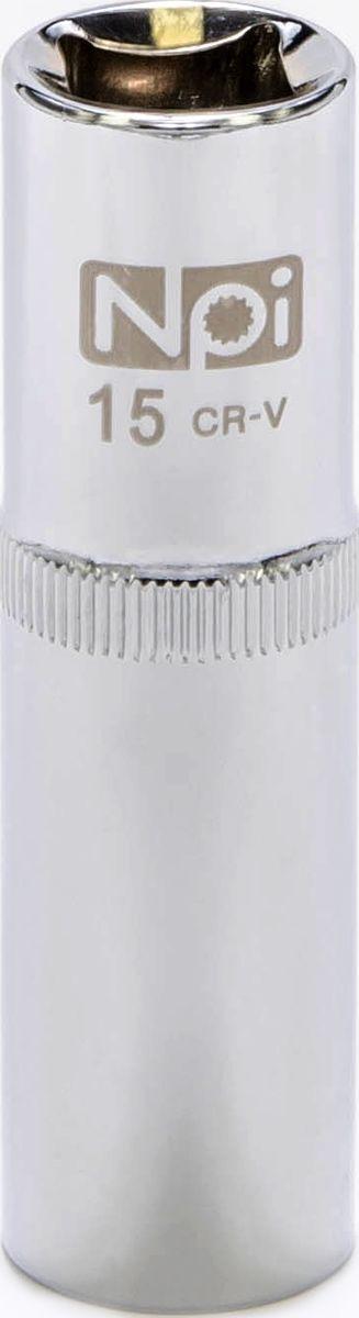 Головка торцевая NPI, удлиненная, 1/2, 15 мм20044Торцевая головка NPI выполнена из высокопрочной хром-ванадиевой стали и применяется с гайковертами, трещетками, воротками. Торцевая головка выполнена по технологии Суперлок. Торцевая головка обеспечивает максимальный крутящий момент по отношению к резьбе и выдерживает ударные нагрузки. Размер шестигранника: 15 мм. Высота головки: 77 мм. Размер ключа (дюймы): 1/2 .Посадочный размер: 1/2.Диаметр узкой части: 22 мм. Диаметр широкой части: 22 мм.