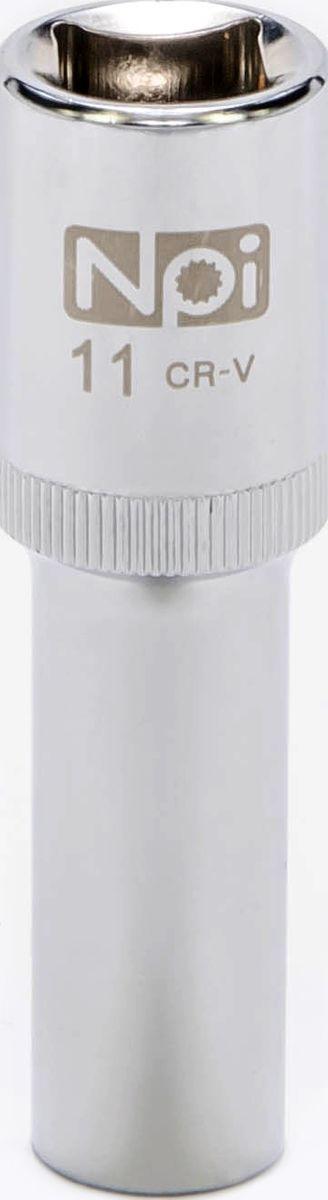 Головка торцевая NPI, удлиненная, 1/2, 11 мм20052Торцевая головка NPI выполнена из высокопрочной хром-ванадиевой стали и применяется с гайковертами, трещетками, воротками. Торцевая головка выполнена по технологии Суперлок. Торцевая головка обеспечивает максимальный крутящий момент по отношению к резьбе и выдерживает ударные нагрузки. Размер шестигранника: 11 мм. Высота головки: 77 мм. Размер ключа (дюймы): 1/2 .Посадочный размер: 1/2.Диаметр узкой части: 17 мм. Диаметр широкой части: 22 мм.