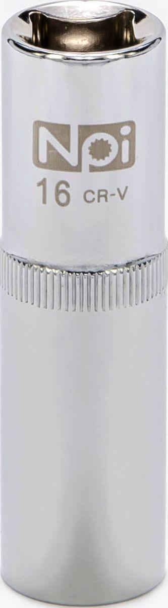 Головка торцевая NPI, удлиненная, 1/2, 16 мм20054Торцевая головка NPI выполнена из высокопрочной хром-ванадиевой стали и применяется с гайковертами, трещетками, воротками. Торцевая головка выполнена по технологии Суперлок. Торцевая головка обеспечивает максимальный крутящий момент по отношению к резьбе и выдерживает ударные нагрузки. Размер шестигранника: 16 мм. Высота головки: 77 мм. Размер ключа (дюймы): 1/2 .Посадочный размер: 1/2.Диаметр узкой части: 22 мм. Диаметр широкой части: 22 мм.