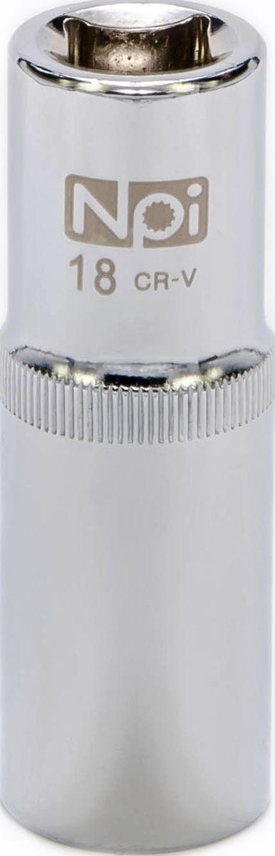 Головка торцевая NPI, удлиненная, 1/2, 18 мм20055Торцевая головка NPI выполнена из высокопрочной хром-ванадиевой стали и применяется с гайковертами, трещетками, воротками. Торцевая головка выполнена по технологии Суперлок. Торцевая головка обеспечивает максимальный крутящий момент по отношению к резьбе и выдерживает ударные нагрузки. Размер шестигранника: 18 мм.Высота головки: 77 мм.Размер ключа (дюймы): 1/2 . Посадочный размер: 1/2. Диаметр узкой части: 23 мм.Диаметр широкой части: 25 мм.