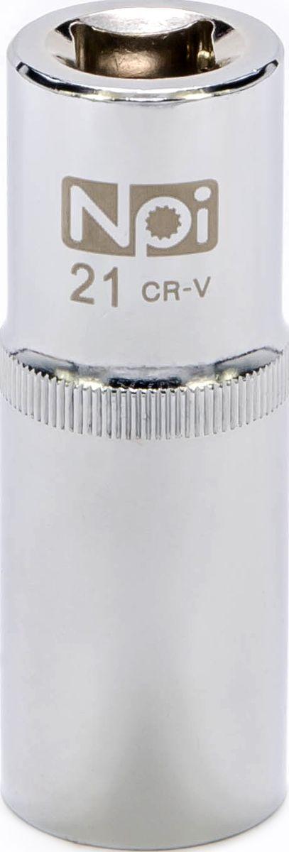 Головка торцевая NPI, удлиненная, 1/2, 21 мм20056Торцевая головка NPI выполнена из высокопрочной хром-ванадиевой стали и применяется с гайковертами, трещетками, воротками. Торцевая головка выполнена по технологии Суперлок. Торцевая головка обеспечивает максимальный крутящий момент по отношению к резьбе и выдерживает ударные нагрузки. Размер шестигранника: 21 мм. Высота головки: 77 мм. Размер ключа (дюймы): 1/2 .Посадочный размер: 1/2.Диаметр узкой части: 26 мм. Диаметр широкой части: 28 мм.