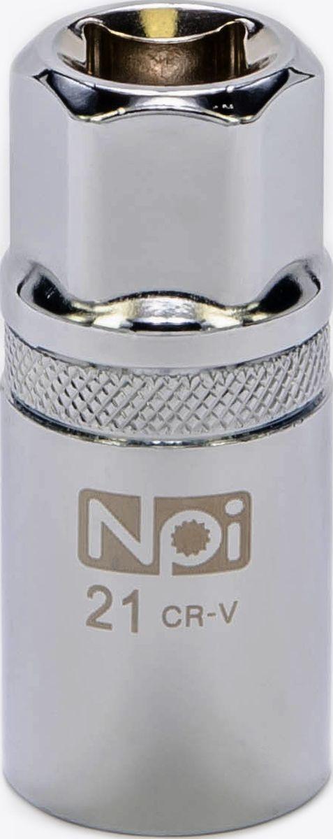 Головка торцевая NPI, свечная с магнитом, 1/2, 21 мм20091Свечная торцевая головка NPI с впрессованным магнитом применяется при снятии и установке свечей зажигания. Изготовлена из высокопрочной хром-ванадиевой стали. Специальные фрикционные насечки на внешней стороне головки предотвращают ее выскальзывание из рук.Свечная головка: 21 мм.Высота головки: 68 мм. Тип: 1/2. Размер ключа (метрический): 21 мм.