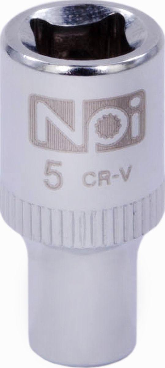 Головка торцевая NPI SuperLock, 1/4, 5 мм20223Торцевая головка NPI выполнена из высокопрочная хром-ванадиевой стали и применяется с гайковертами, трещетками, воротками. Торцевая головка выполнена по технологии Суперлок. Торцевая головка обеспечивает максимальный крутящий момент по отношению к резьбе и выдерживает ударные нагрузки. Размер ключа (метрический): 5 мм. Размер ключа (дюймы): 1/4 . Посадочный размер: 1/4. Длина головки: 25 мм.