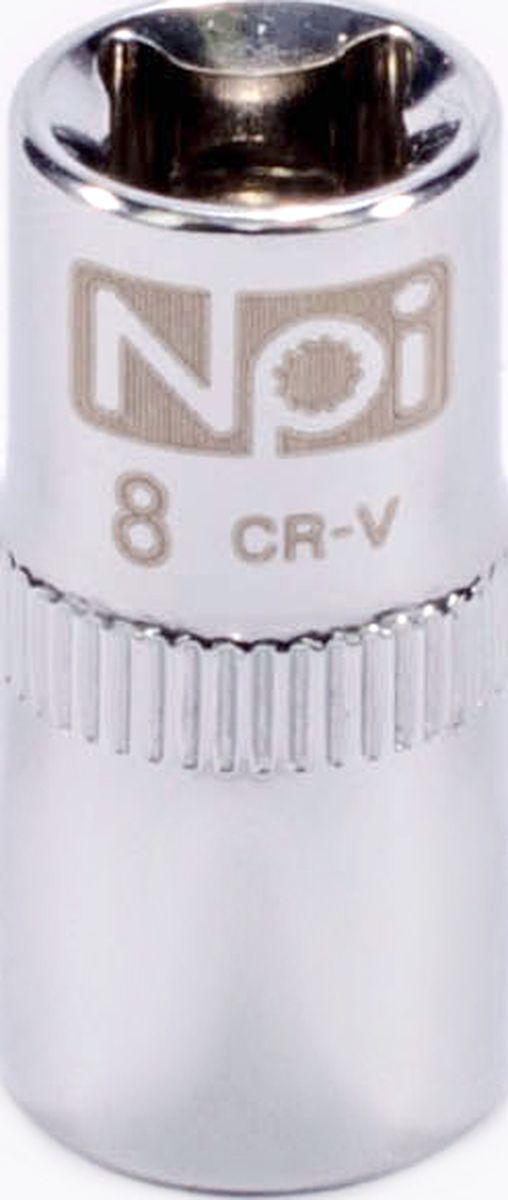 Головка торцевая NPI SuperLock, 1/4, 8 мм20226Торцевая головка NPI выполнена из высокопрочная хром-ванадиевой стали и применяется с гайковертами, трещетками, воротками. Торцевая головка выполнена по технологии Суперлок. Торцевая головка обеспечивает максимальный крутящий момент по отношению к резьбе и выдерживает ударные нагрузки. Размер ключа (метрический): 8 мм.Размер ключа (дюймы): 1/4 .Посадочный размер: 1/4.Длина головки: 25 мм.
