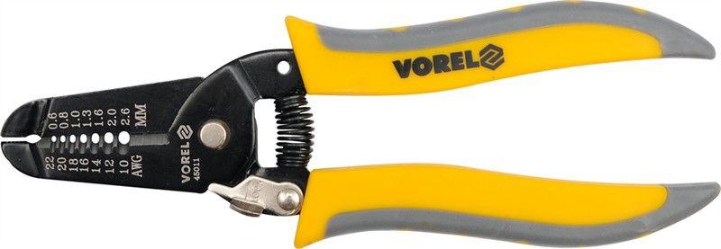 Съемник изоляции Vorel, 18,5 см45010Съемник изоляции незаменим для работы с электрическими кабелями. Обладает компактной и прочной конструкцией. Позволяет ускорить рабочий процесс. Используется с кабелями различной величины: для снятия изоляции или разъединения жил.