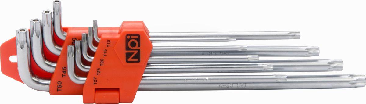 Набор шестигранных ключей NPI, Torx T10-T50, 9 шт45516Набор шестигранных ключей NPI изготовлен из высококачественной хром-ванадиевой стали. Ключи имеют магнитные наконечники.Наконечники Torx: T10, T15, T20, T25, T27, T30, T40, T45, T50.