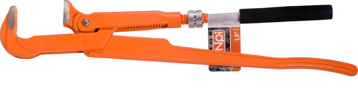 Ключ трубный NPI, тип 90 1.547131Ключ трубный NPI тип 90 1.5. Ключ кованный. Длина инструмента 320 мм. Ширина зева 40мм. Вес 0,8 кг. Имеет шлифованные и полированные губки. Соответствует стандарту DIN 5234.