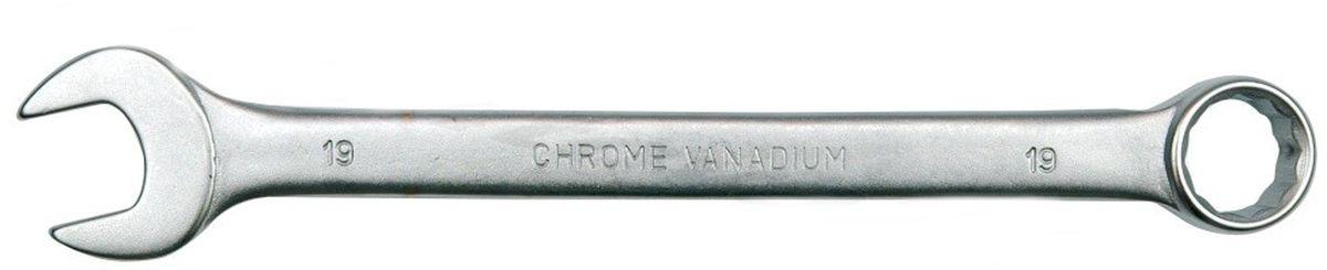 Ключ комбинированный Vorel Сатин CrV, 19 мм51684Ключ гаечный комбинированный изготовлен из высококачественной хром-ванадиевой стали. Финишное прочное хромированное покрытие защищает ключ от воздействия коррозии, делает его более износостойким и легко очищается от загрязнений.Продуманный профиль накидной части ключа смещает пятно контакта с ребра грани на ее поверхность, что предотвращает повреждение болтов и гаек даже при самых высоких нагрузках. Эргономичный профиль рукоятки ключа позволяет развивать большее усилие без риска повреждения кистей рук.