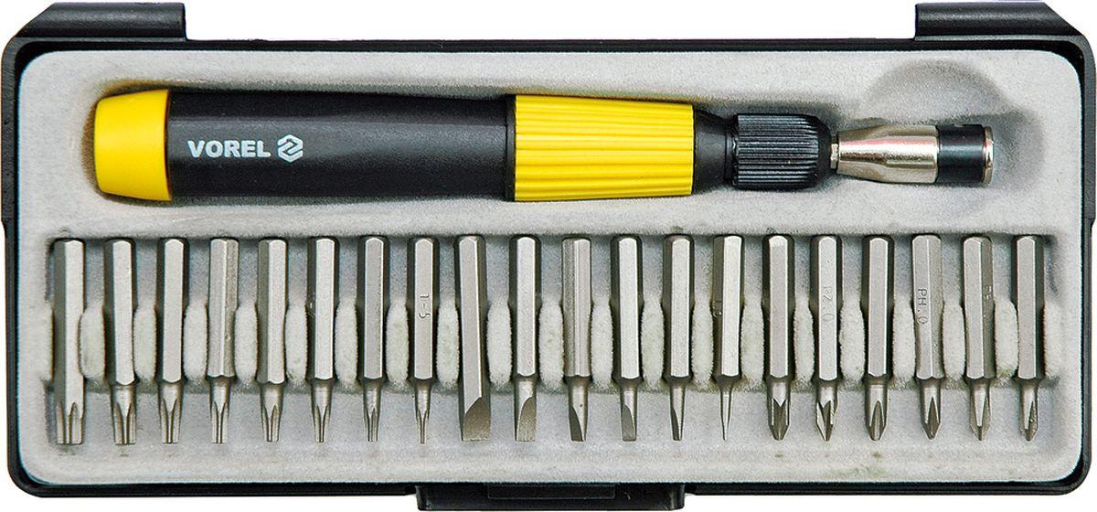 Отвертка с трещоткой Vorel, с головками и вставками60975Отвертка с трещоткой с головками и вставками - это комплекткоторый служит для откручивания и закручивания крепежей. Изделия используются для монтажа и демонтажа соединений с резьбой - для саморезов, шурупов или винтов. Биты и торцовые головки дают прекрасные возможности как для бытового, так и для профессионального применения.