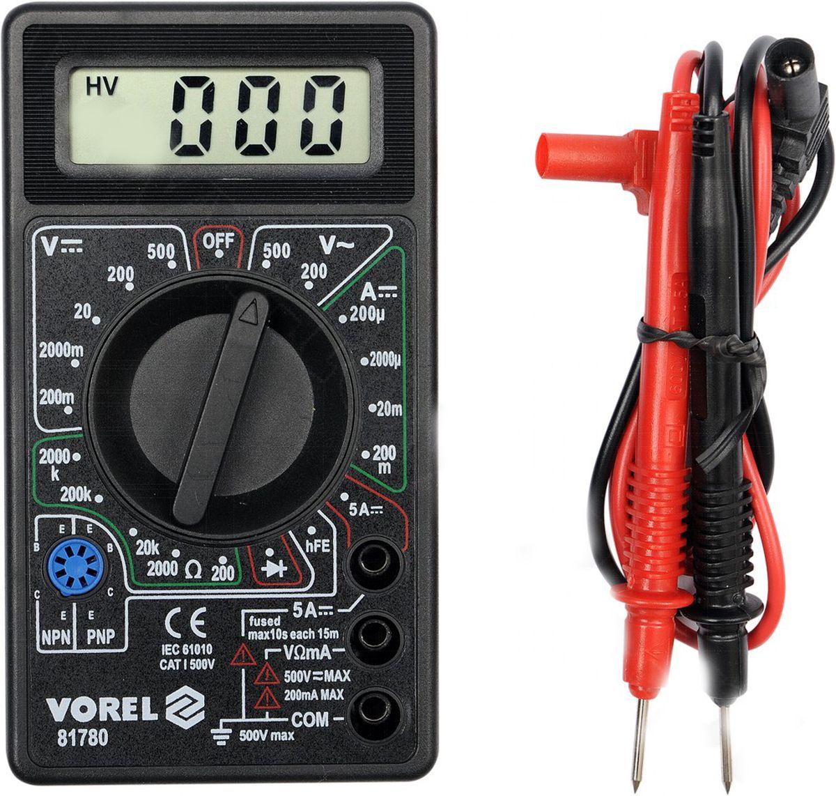Измеритель цифровой универсальный Vorel81780Vorel позволяет измерять сопротивления, емкости, частоты и температуры, а также позволяет проверить светодиод.Мультиметр имеет пластиковый корпус, резиновый кожух, подставка, ЖК дисплей, а также переключатель измерительных диапазонов. В корпусе находятся измерительные гнезда и гнездо для проверки транзисторов. Прибор оснащен измерительными проводами с контактами.Технические характеристики:Экран: LCD Измерение напряжения переменного тока: 0-600В ± 0,8% Измерение постоянного напряжения: 0-600В ± 0,5% Переменный ток: 0-10A ± 1,8% Постоянный ток: 0-10A ± 1,2% Проверка диодов: 1 мА, 2,8 В Измерение HFE транзистор Измерение емкости: 0-20 мкФ ± 2,5% Измерение частоты: 0-20кГц Измерение температуры: от -40 до 400 ° C.