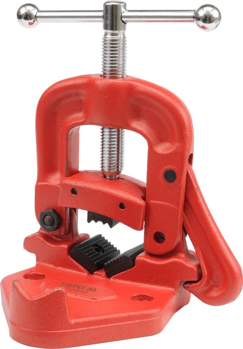 Тиски Yato, для фиксации труб до 2YT-6510Откидные трубные тиски (Yato позволяют зажимать трубы диаметром до 2 (60 мм). Хомут и корпус приспособления выполнены из качественного чугуна, губки - из легированной стали. Конструкцией модели предусматривается опора для зажимаемой трубы, а также гибочный ролик. Есть возможность устанавливать тиски на треногу/верстак.