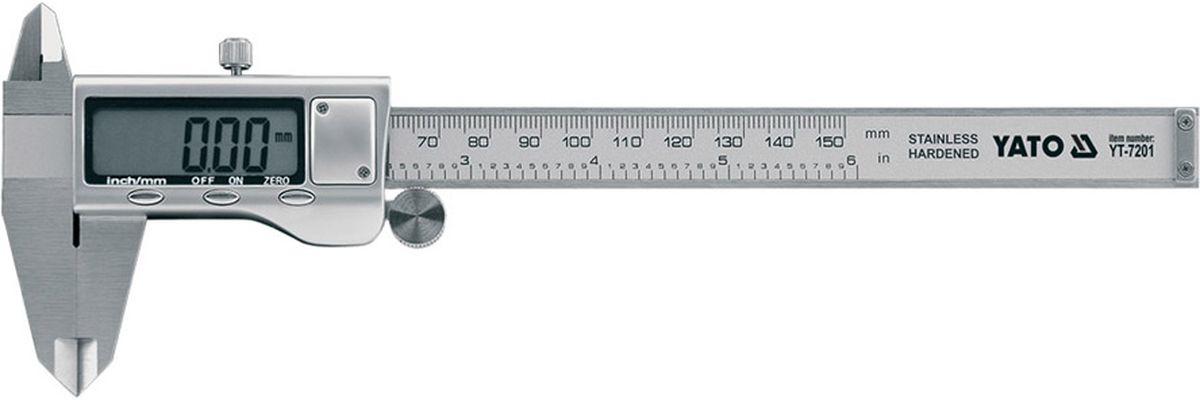 Штангенциркуль электронный Yato, 150 мм, 0,02 ммYT-7201Штангенциркуль YATO электронный, изготовлен из нержавеющей стали, длина 150мм, точность 0,02 мм.