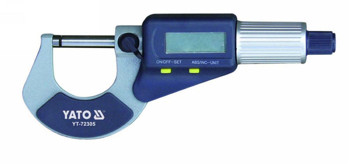 Микрометр цифровый Yato, 0-25 мм ключ трубный yato stillson изогнутый с пвх покрытием 350 мм