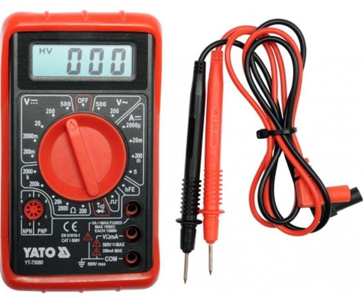 Мультиметр цифровой Yato, базовыйYT-73080Мультиметр Yato предназначен для измерения тока и напряжения. Прибор многофункционален, портативен, питается от химических источников, удобен при ремонте электрооборудования автомобиля, лабораторных измерений.Измерение напряжения переменного и постоянного тока: 0-500 В. Измерение напряжения: 2000 МОм. Дисплей: цифровой.