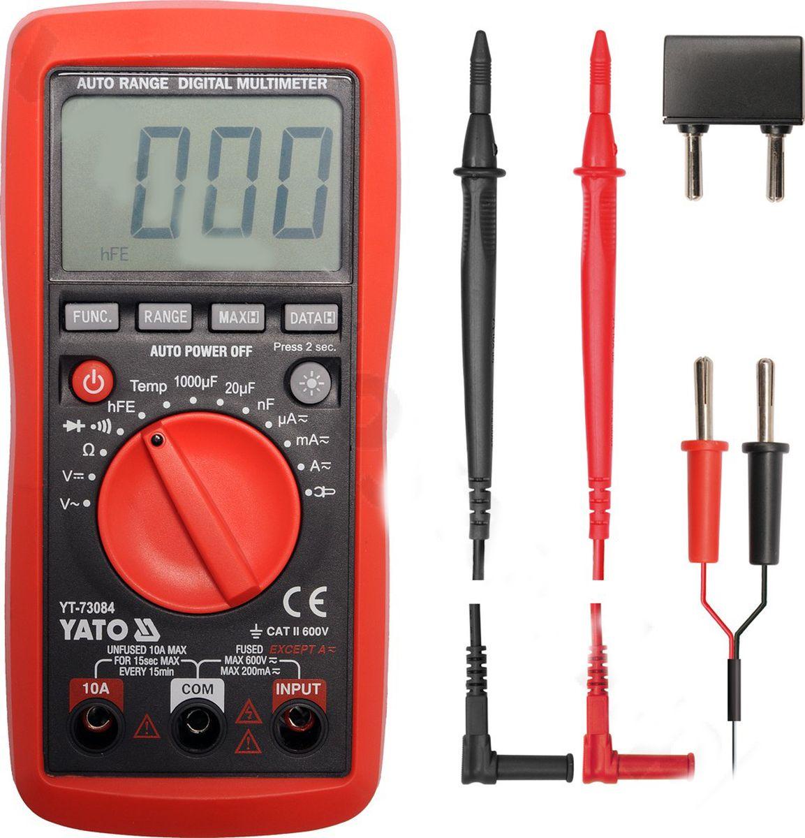 Мультиметр цифровой YatoYT-73084Мультиметр Yato предназначен для измерения тока, напряжения и температуры. Прибор многофункционален, портативен, питается от химических источников, удобен при ремонте электрооборудования автомобиля, лабораторных измерений.Диапазон измерения постоянного напряжения: 0-600 В. Диапазон измерения переменного напряжения: 0-600 В. Диапазон измерения сопротивление: 0-20 Ом. Диапазон измерения температуры: -20 - +1000°С.