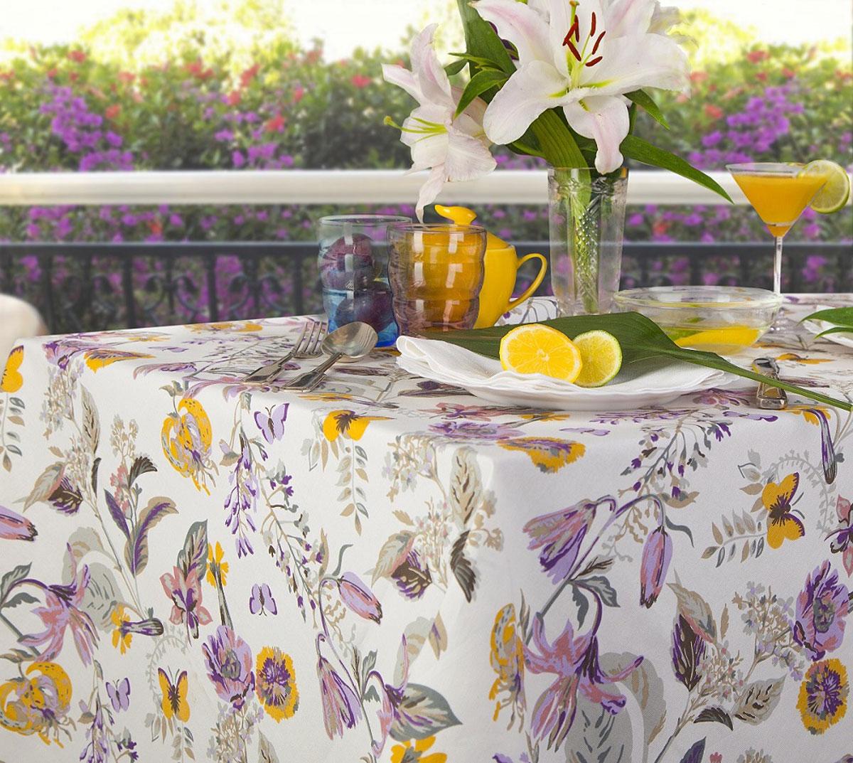 Скатерть Bonita Тропикана, прямоугольная, 150 х 180 см10010816822Великолепная скатерть Bonita, изготовленная из натурального хлопка, создаст атмосферу уюта и домашнего тепла в интерьере вашей кухни. Скатерть органично впишется в интерьер любого помещения, а оригинальный мотив удовлетворит даже самый изысканный вкус.