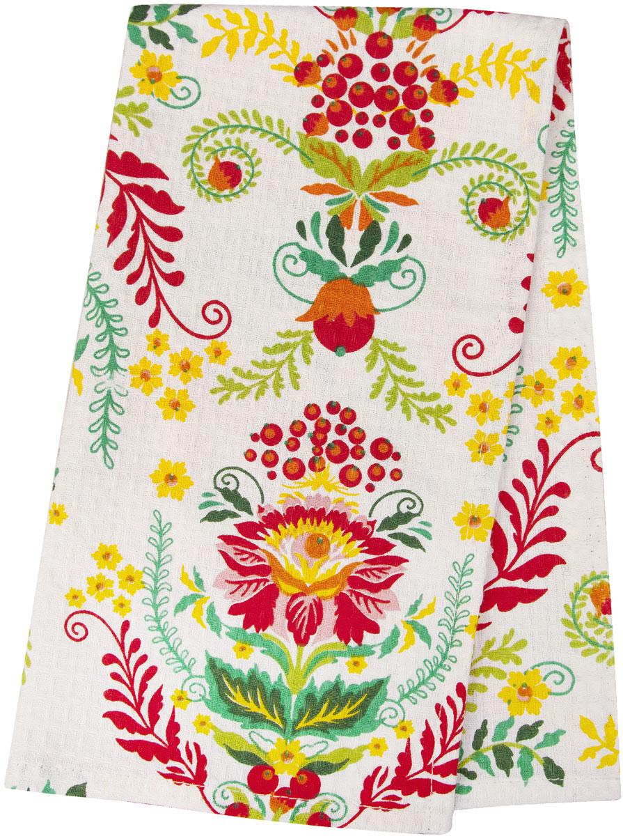 Полотенце кухонное Bonita Калинка, цвет: белый, красный, желтый, зеленый, 35 х 61 см полотенце кухонное bonita белые росы цвет белый бежевый 35 х 61 см