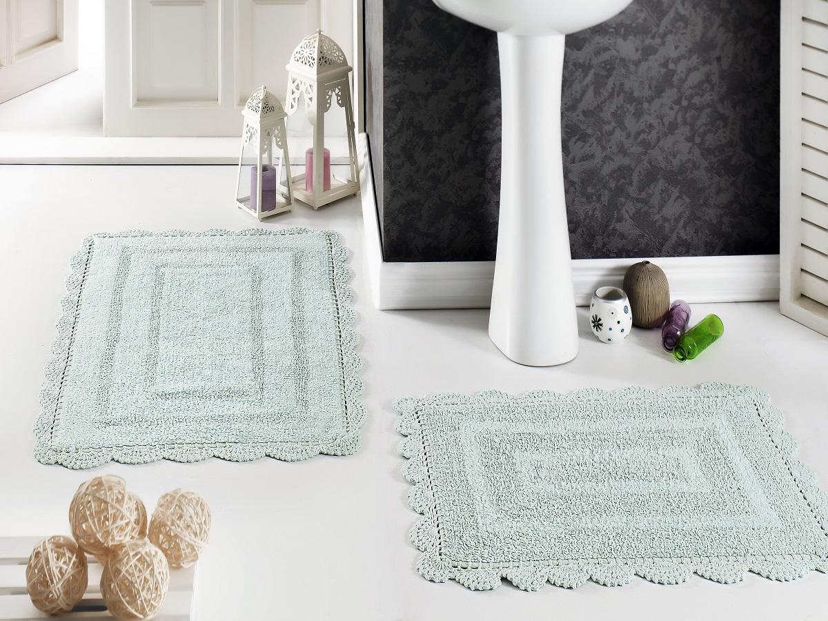 Набор ковриков для ванной Karna Modalin. Evora, цвет: светло-зеленый, 2 шт аксессуары для ванной и туалета modalin коврик для ванной evora цвет кремовый 50х70 см