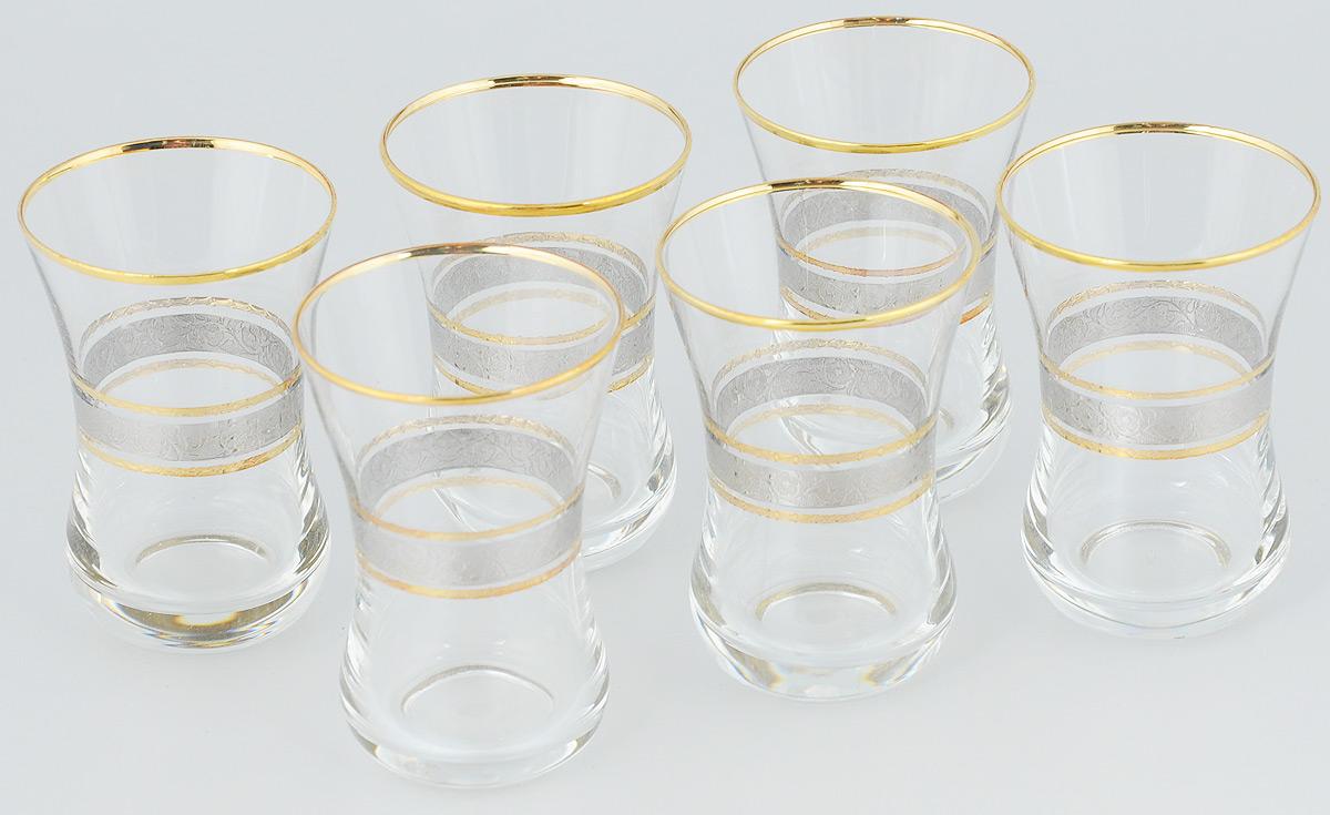 Набор стаканов для коктейля Гусь-Хрустальный, 100 мл, 6 шт01/03-6394Набор Гусь-Хрустальный состоит из 6 стаканов для коктейля, изготовленных из высококачественного натрий-кальций-силикатного стекла. Изделия оформлены красивым зеркальным покрытием и орнаментом. Такой набор прекрасно дополнит праздничный стол и станет желанным подарком в любом доме.Разрешается мыть в посудомоечной машине.Диаметр стакана (по верхнему краю): 5,5 см.Высота стакана: 8,2 см.