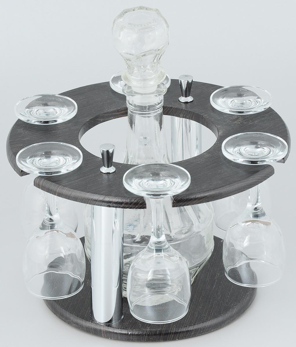 Набор рюмок Мусатов Кольцо, с графином, 8 предметов05-110Набор Мусатов Кольцо состоит из 6 рюмок, графина и деревянной подставки. Рюмки и графин изготовлены из высококачественного натрий-кальций-силикатного стекла. Такой набор прекрасно дополнит праздничный стол и станет желанным подарком в любом доме. Рюмки и графин разрешается мыть в посудомоечной машине. Диаметр рюмки: 4,3 см. Высота рюмки: 11 см.Диаметр основания: 5 см.Диаметр графина (по верхнему краю): 2 см.Высота графина: 17 см. Диаметр подставки: 22 см. Высота подставки: 13 см.Объем графина: 500 мл.Объем рюмки: 134 мл.