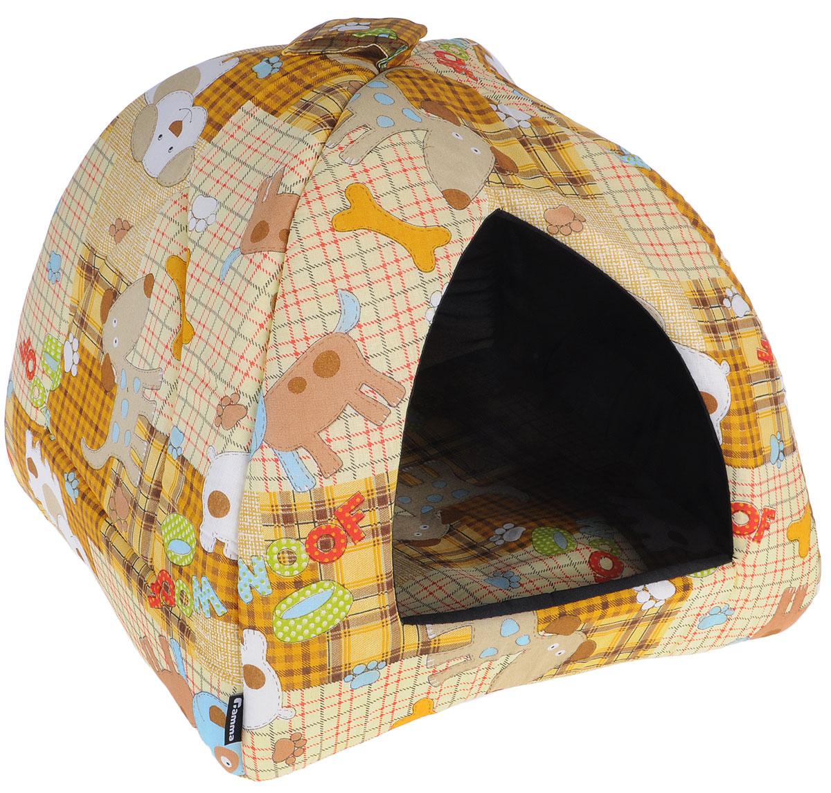 Домик для кошек и собак Гамма, цвет: бежевый, коричневый, 40 см х 40 см х 43 см гамма миска для кошек и собак n1