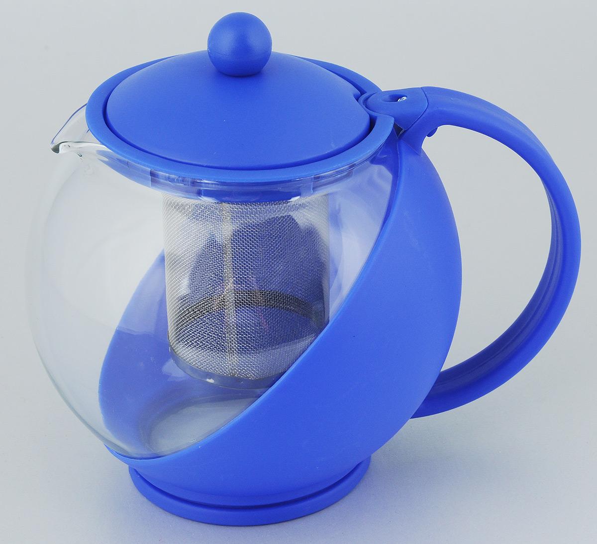 Чайник заварочный Bekker Koch, с фильтром, цвет: синий, 1,25 л контейнер пищевой вакуумный bekker koch прямоугольный 1 1 л page 11