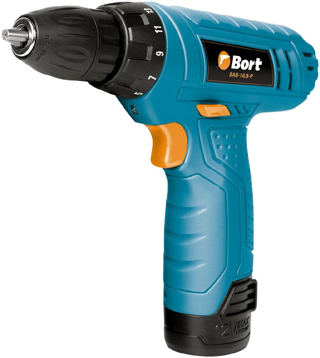 Дрель-шуруповерт аккумуляторная Bort BAB-10,8-P91270016Дрель-шуруповерт Bort BAB-10,8-P аккумуляторная подойдет для установки и демонтажа шурупов, саморезов и болтов. При помощи этого инструмента можно осуществлять сверление в различных материалах, Вы оцените все преимущества его использования и универсальность. Bort BAB-10,8-P имеет частоту вращения до 500 оборотов минуту. Крутящий момент можно быстро отрегулировать, выставив наиболее подходящий параметр. Фиксация шпенделя будет полезна при эксплуатации.Для освещения рабочей зоны предусмотрена подсветка, она повышает удобство применения шуруповерта. В корпусе установлен аккумулятор литий-ионного типа. Он отличается долговечностью, переносит множество циклов перезарядки без потери эффективности. Емкости 1,3 Ач будет достаточно для продолжительного применения инструмента. Зарядка осуществляется от специального устройства из комплекта. Нельзя не отметить компактные габариты и небольшой вес, он составляет всего 1 килограмм.Характеристики:Тип аккумуляторной батареи: XR Li-Ion.Емкость аккумулятора: 1,3 Ач.Напряжение аккумулятора: 10,8 В.Время зарядки, около: 180 мин.Максимальный диаметр сверления (дерево): 20 мм.Максимальный диаметр сверления (сталь): 8 мм.Максимальный крутящий момент (мягкий): 18 Нм.