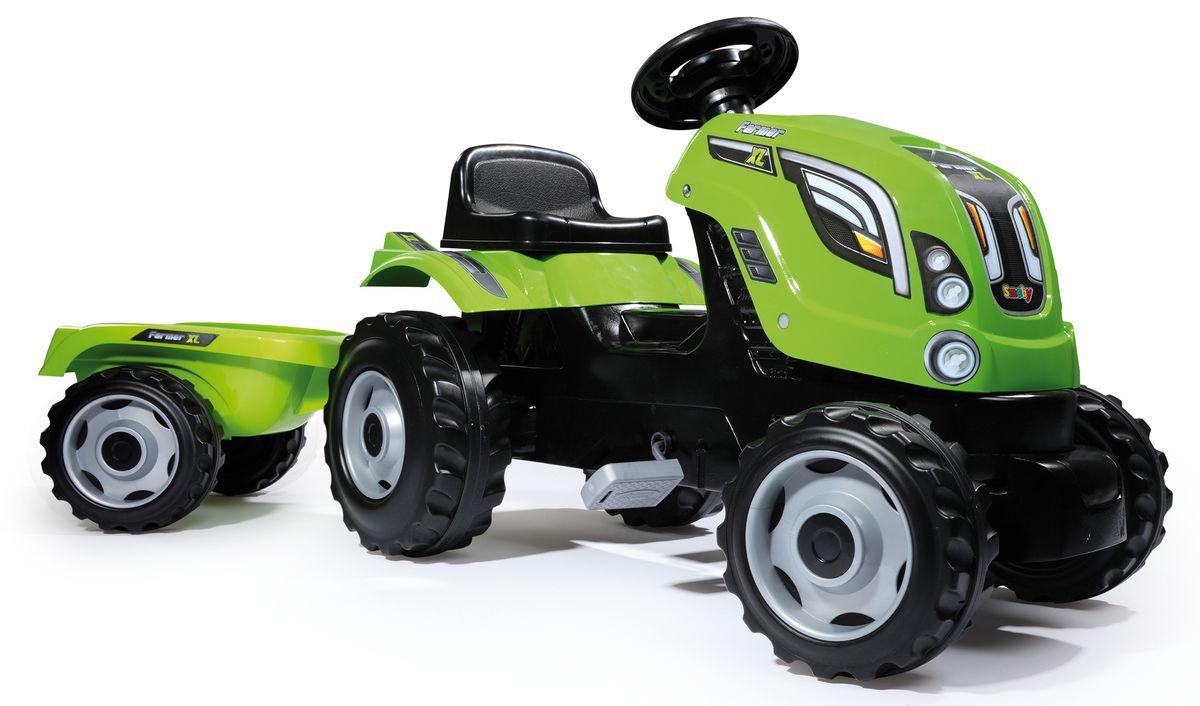 Smoby Трактор педальный Farmer XL с прицепом цвет зеленый - Каталки, понициклы