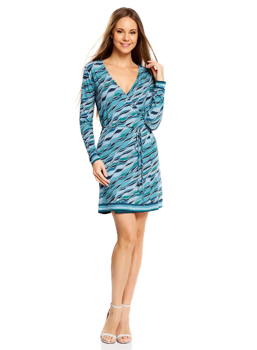 Платье oodji Ultra, цвет: морская волна, бирюзовый. 14000167/46384/6C73O. Размер XL (50-170)14000167/46384/6C73OПлатье с запахом oodji Ultra А, выгодно подчеркивающее достоинства фигуры,выполнено из качественного трикотажа. Модель мини-длины с короткимирукавами завязывается тонким пояском. Запах дополнительно фиксируется скрытыми пуговицами.