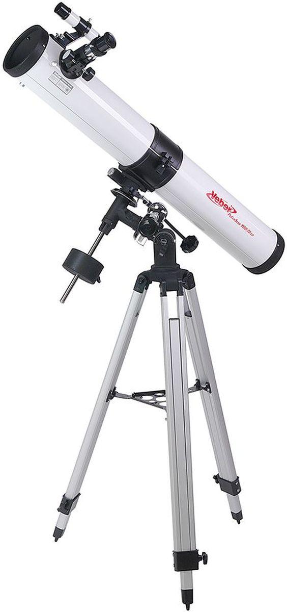 Veber 900/76 EQ PolarStar телескоп23386Зеркальный телескоп-рефлектор Veber 900/76 EQ PolarStar на экваториальной монтировке хорошо подойдет для первого знакомства састрономией. Прибор имеет внушительные габариты (длина 860 мм, диаметр зеркала 76 мм). Благодаря большомуфокусному расстоянию и богатой комплектации оптическими аксессуарами, вы можете выбрать оптимальноеувеличение — от 45х для наблюдений днем (ближняя дистанция фокусировки 20,5 м), до 450х — для ночныхнебесных исследований. В этот прибор вы сможете рассматривать лунные кратеры диаметром около 6 км, Сатурн,Марс, некоторые из ярчайших туманностей. Вес самой трубы невелик, поэтому монтировка типа EQ2 (свозможностью установки дополнительного часового механизма) является оптимальной. Телескоп поставляется вкомплекте с алюминиевым штативом, который имеет дополнительные металлические распорки (для повышенияустойчивости), и металлическим столиком для аксессуаров.