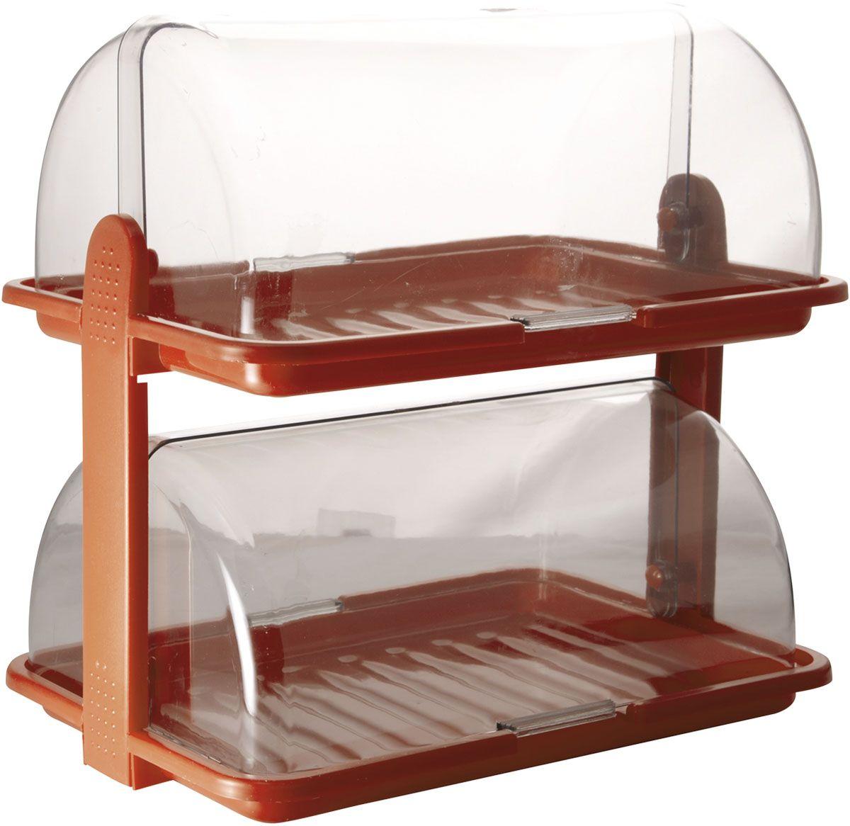 "Хлебница ""Plastic Centre"", 2-ярусная, цвет: коричневый, прозрачный, 38,5 х 26 х 37 см"