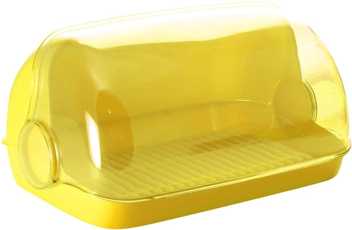Хлебница Plastic Centre Пышка, цвет: желтый, прозрачный, 41,5 х 26 х 18,5 см