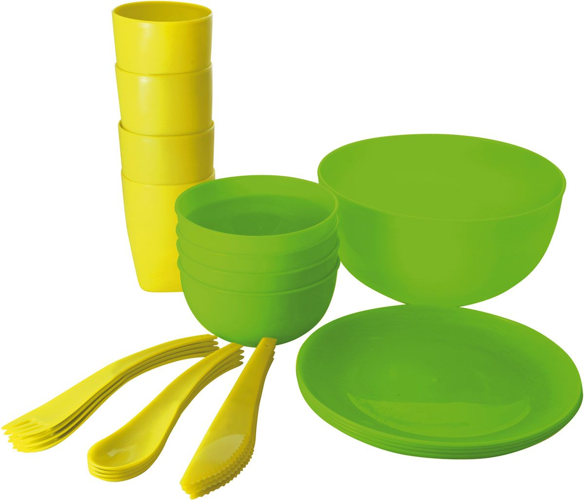 Набор для пикника Plastic Centre, цвет: зеленый, желтый, 25 предметовПЦ1843МИКСНабор для пикника Plastic Centre - это все, что нужно для организации загородной поездки. Легкую посуду удобно взять с собой. Яркие цвета и привлекательный дизайн создадут уютную атмосферу и дополнят радостные моменты на природе. Прочный пластик подходит для многократного использования.В набор входят: глубокая миска, 4 стакана, 4 маленьких миски, 4 тарелки, 4 ложки, 4 вилки, 4 ножа.