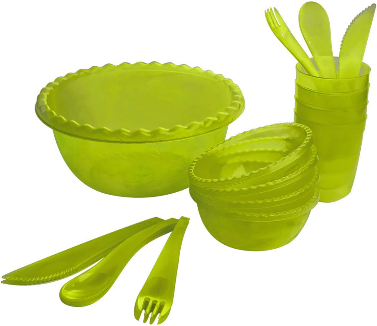Набор для пикника Plastic Centre Фазенда, цвет: зеленый, прозрачный, на 4 персоны аксессуар для алкоголя akso набор подарочный коньячный на 4 персоны 138ки4