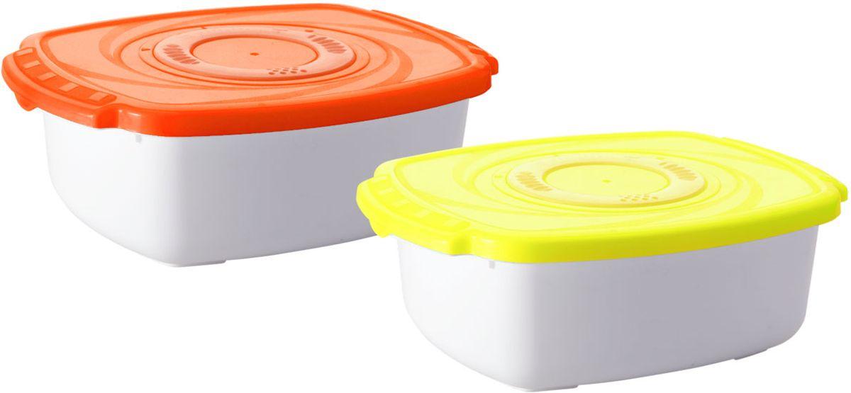Кастрюля для СВЧ Plastic Centre Galaxy, цвет: оранжевый, 1,6 л емкость для свч plastic centre galaxy цвет желтый прозрачный 4 75 л