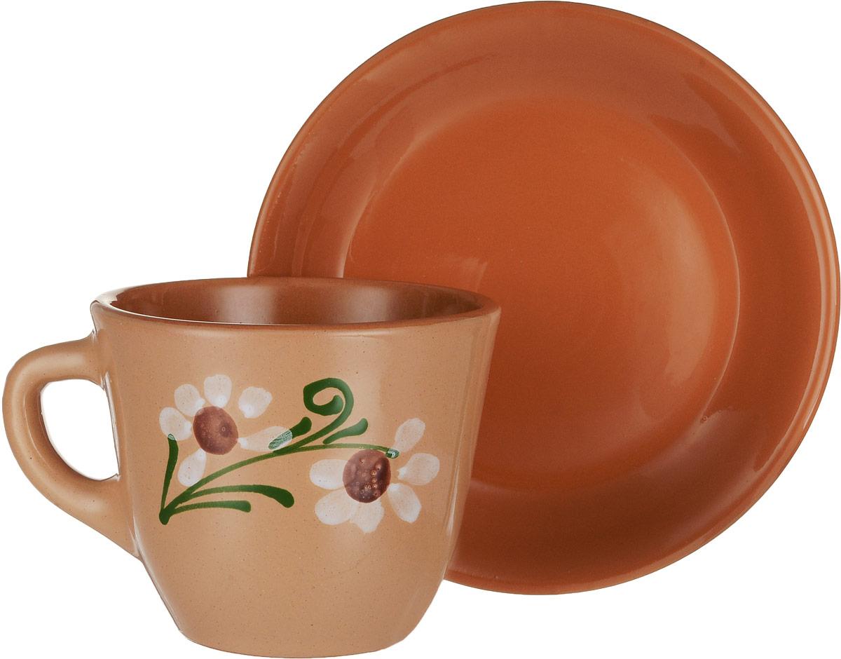Чайная пара Борисовская керамика Cтандарт, 2 предметаОБЧ00000637_светло-коричневыйЧайная пара Борисовская керамика Cтандарт состоит из чашки и блюдца, изготовленных из высококачественной керамики. Яркий дизайн изделий, несомненно, придется вам по вкусу.Чайная пара Борисовская керамика Cтандарт украсит ваш кухонный стол, а также станет замечательным подарком к любому празднику.Диаметр чашки (по верхнему краю): 10 см.Высота чашки: 8,5 см.Диаметр блюдца (по верхнему краю): 15,5 см.Высота блюдца: 2,5 см.Объем чашки: 300 мл