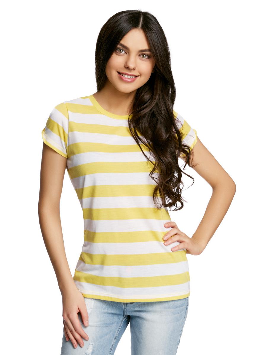 Футболка женская oodji Ultra, цвет: желтый, белый. 14701061-1/45475/5210S. Размер L (48) платье oodji collection цвет черный белый 24001104 1 35477 1079s размер l 48