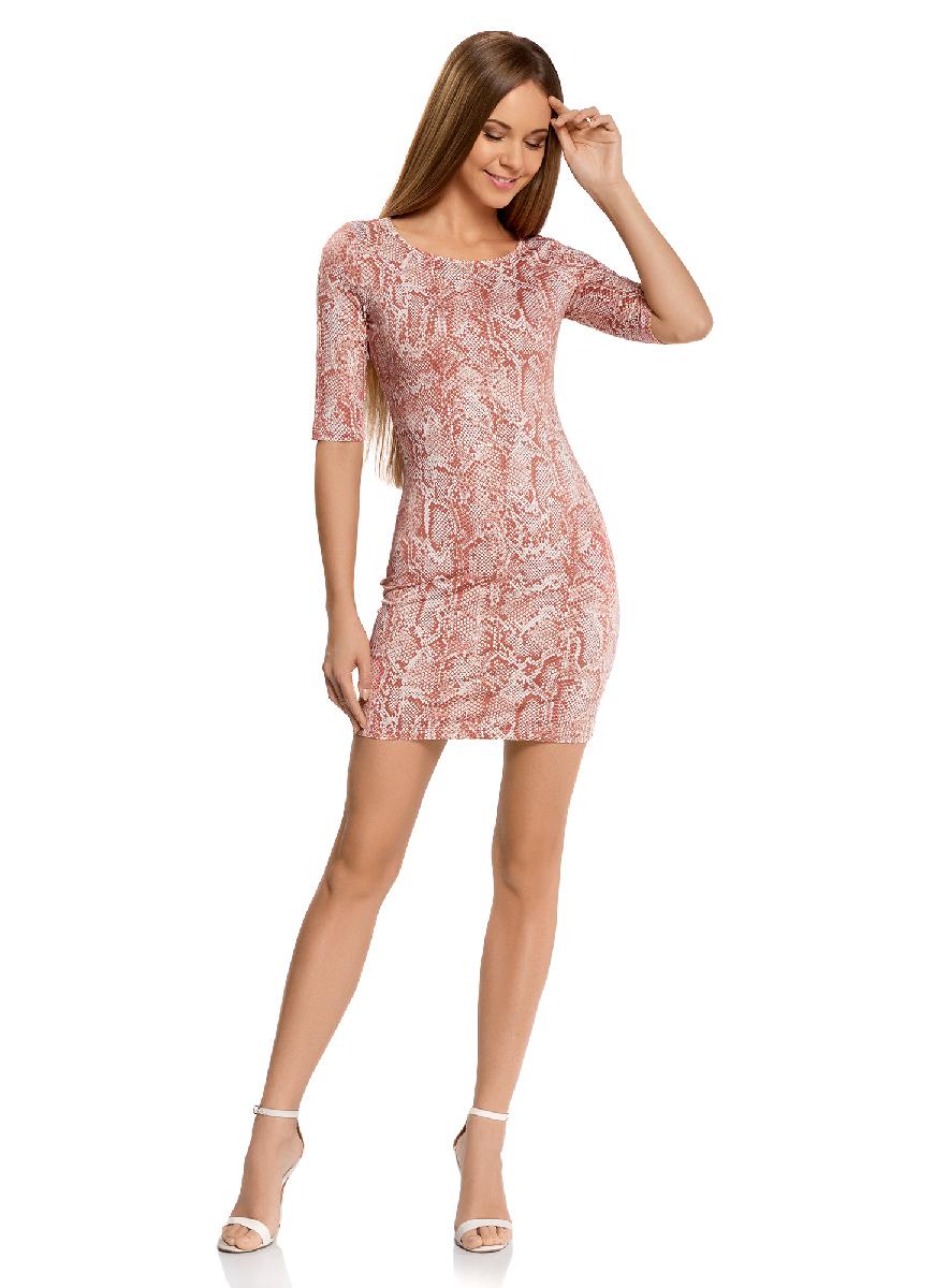 Платье oodji Ultra, цвет: карамельный, белый. 14001121-3B/16300/4B12A. Размер XS (42-170)14001121-3B/16300/4B12AОблегающее платье oodji Ultra выполнено из качественного трикотажа и оформлено оригинальным принтом. Модель мини-длины с круглым вырезом горловиныи рукавами средней длинывыгодно подчеркивает достоинства фигуры.