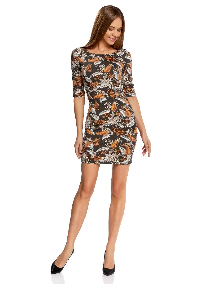 Платье oodji Ultra, цвет: темный хаки, оранжевый. 14001121-3B/16300/6855F. Размер XS (42-170)14001121-3B/16300/6855FОблегающее платье oodji Ultra выполнено из качественного трикотажа и оформлено оригинальным принтом. Модель мини-длины с круглым вырезом горловиныи рукавами средней длинывыгодно подчеркивает достоинства фигуры.