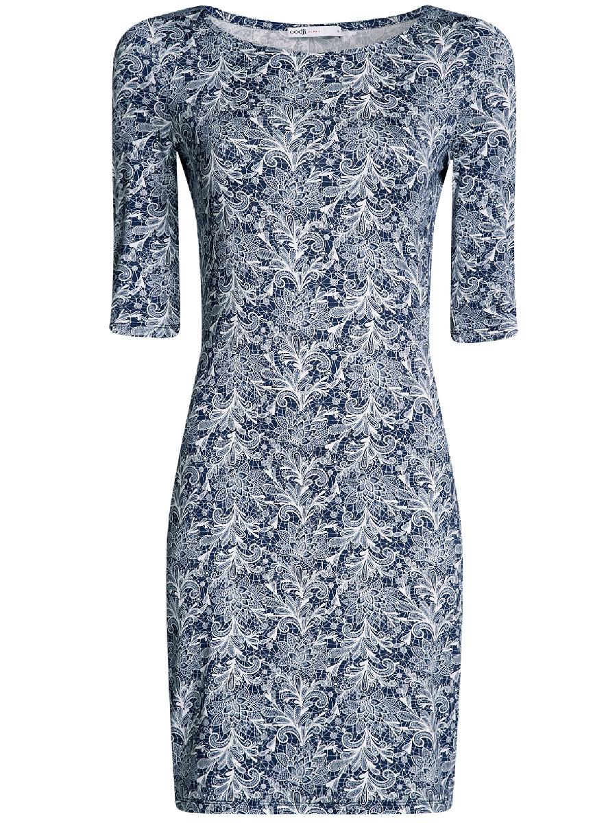 Платье oodji Ultra, цвет: темно-синий, белый. 14001121-3B/16300/7912L. Размер XXS (40-170)14001121-3B/16300/7912LОблегающее платье oodji Ultra выполнено из качественного трикотажа и оформлено оригинальным принтом. Модель мини-длины с круглым вырезом горловиныи рукавами средней длинывыгодно подчеркивает достоинства фигуры.