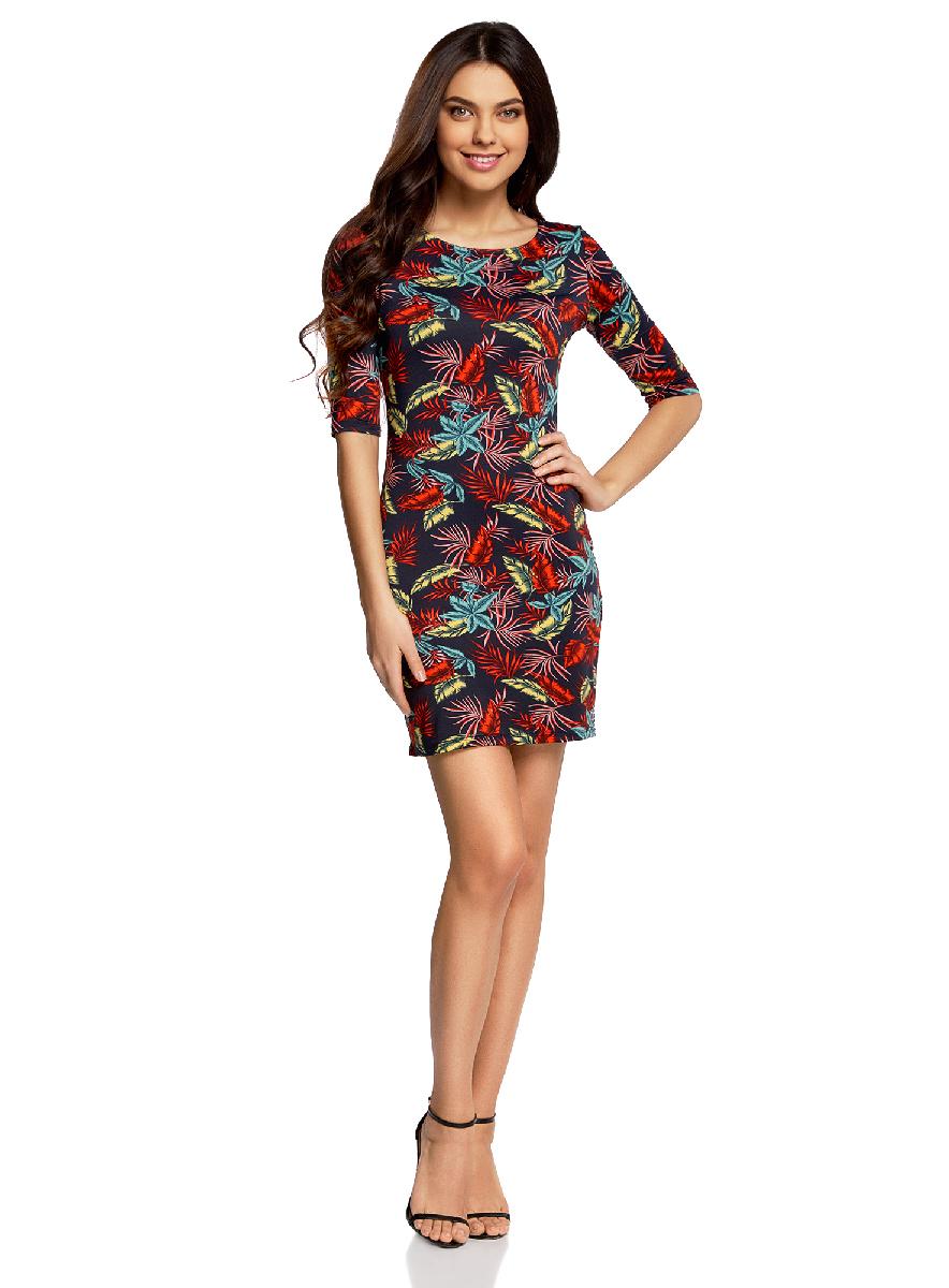 Платье oodji Ultra, цвет: темно-синий, оранжевый. 14001121-3B/16300/7955F. Размер XS (42-170)14001121-3B/16300/7955FОблегающее платье oodji Ultra выполнено из качественного трикотажа и оформлено оригинальным принтом. Модель мини-длины с круглым вырезом горловиныи рукавами средней длинывыгодно подчеркивает достоинства фигуры.