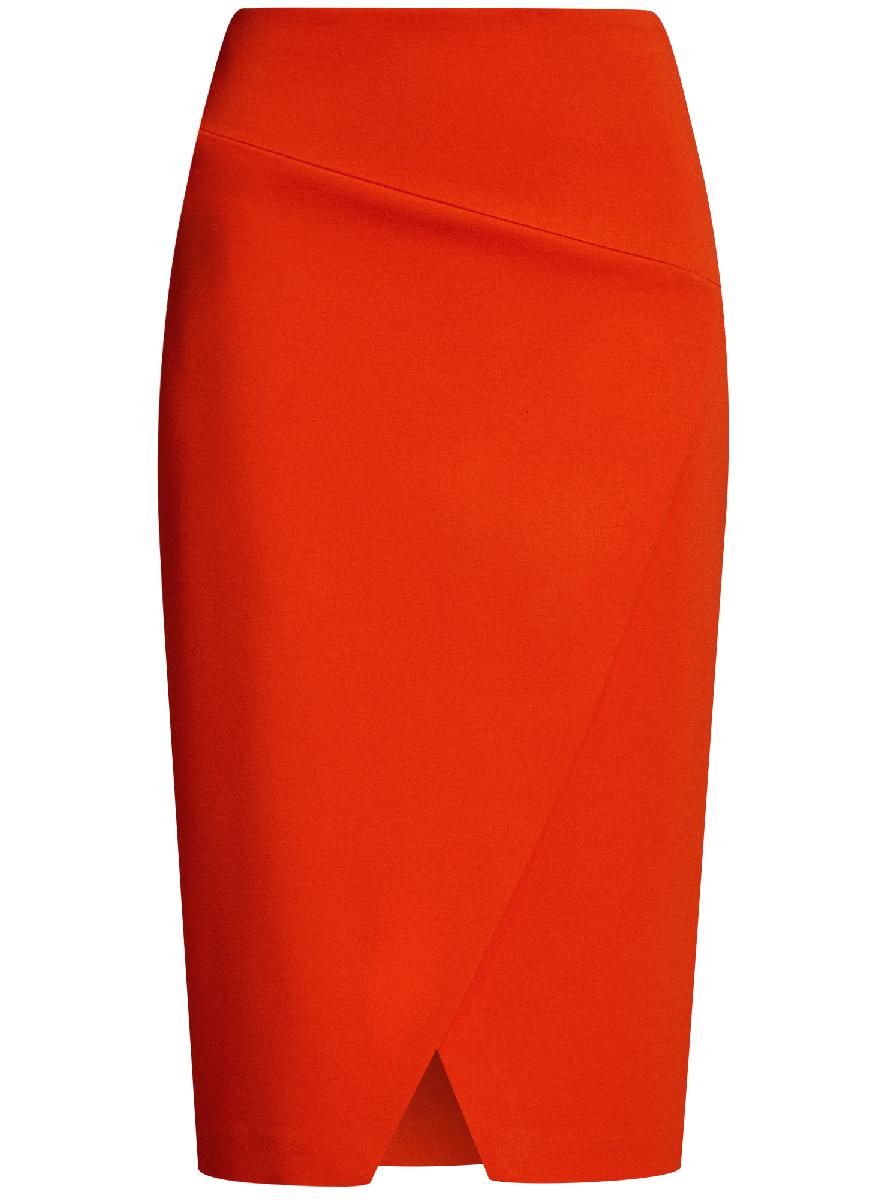 Юбка oodji Ultra, цвет: красный. 14100073/46698/4500N. Размер XXS (40)14100073/46698/4500NСтильная юбка с диагональным разрезом спереди выполнена из высококачественного трикотажа. зади модель застегивается на потайную застежку-молнию.