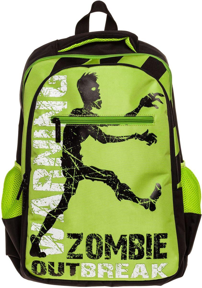 Hatber Рюкзак Basic Style ZombieNRk_19095Рюкзак Hatber Basic Style Zombie - это стильный молодежный рюкзак, отличающийся удобством и вместительностью. Изделие выполнено из полиэстера и оформлено принтом с изображением зомби.Рюкзак имеет 2 вместительных отделения, закрывающихся на застежку-молнию. В основном отделении расположен карман для тетрадей. Снаружи имеется 3 кармана: спереди - 1 карман на молнии, на боковых сторонах - 2 сетчатых кармана. Текстильная ручка обеспечивает возможность переноски рюкзака в одной руке. Дно и спинка изделия уплотнены. S-образная форма лямок отвечает за более плотную фиксацию рюкзака, предотвращая перенапряжение мышц спины.