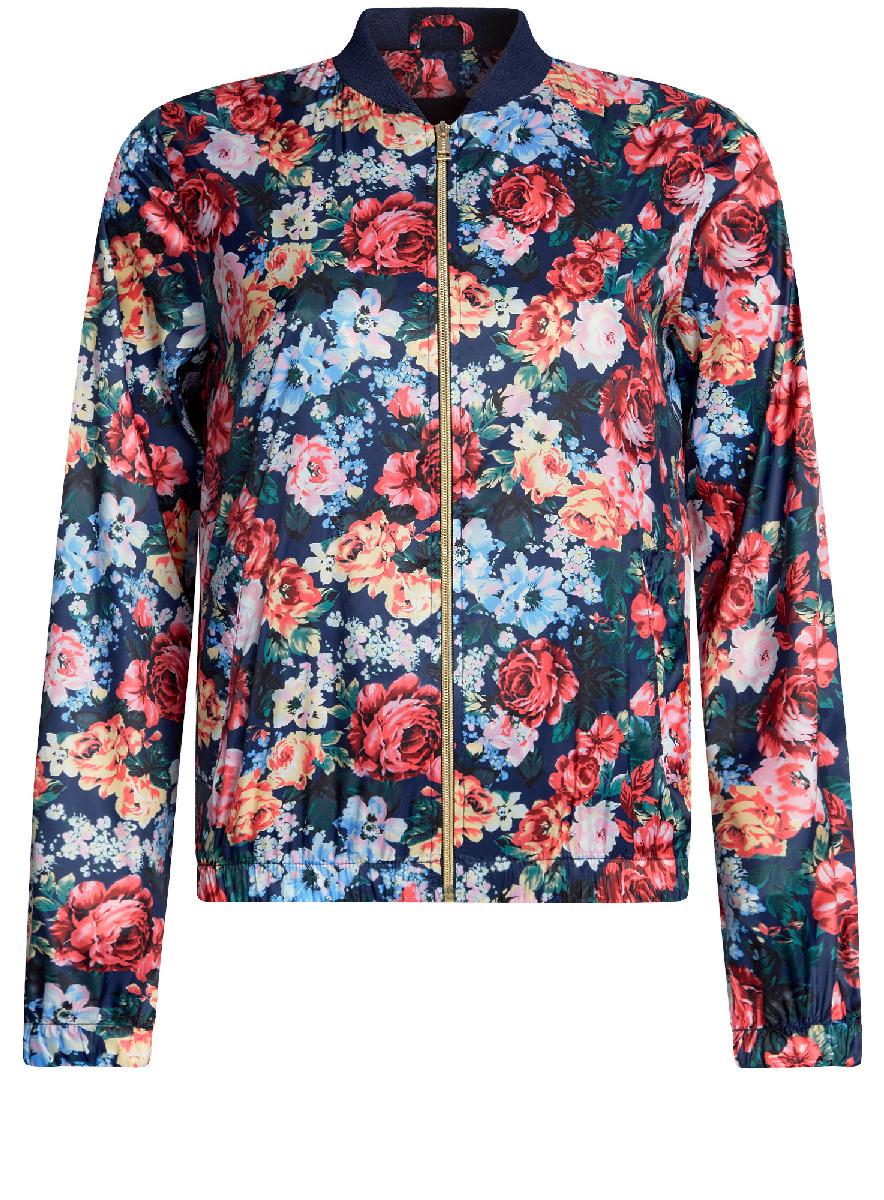 Куртка женская oodji Ultra, цвет: темно-синий, красный. 10303056/46708/7945F. Размер 40-170 (46-170)10303056/46708/7945FЖенская легкая куртка-бомбер oodji Ultra выполнена из высококачественного материала. Модель с трикотажным воротником застегивается на застежку-молнию. Низ куртки и манжеты дополнены эластичными вставками. Спереди расположено два втачных кармана.