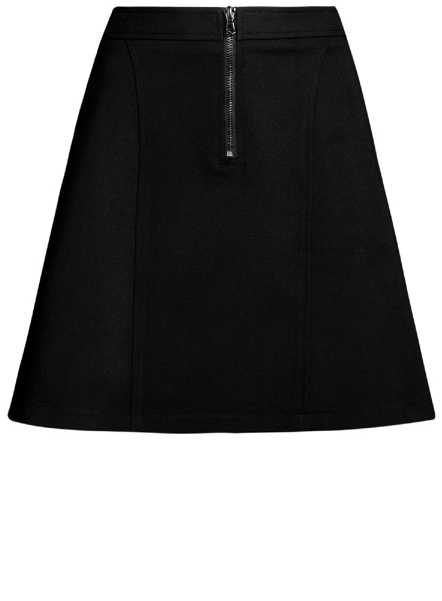 Юбка oodji Ultra, цвет: черный. 11600438/33574/2900N. Размер 42-170 (48-170)11600438/33574/2900NСтильная юбка-трапеция выполнена из высококачественного материала. Спереди модель дополнена металлической застежкой-молнией.
