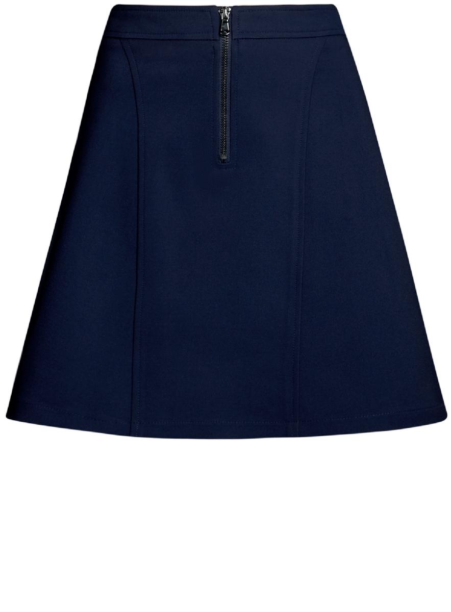 Юбка oodji Ultra, цвет: темно-синий. 11600438/33574/7900N. Размер 34-170 (40-170)11600438/33574/7900NСтильная юбка-трапеция выполнена из высококачественного материала. Спереди модель дополнена металлической застежкой-молнией.